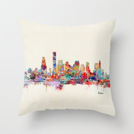 Boston city watercolor Throw Pillow