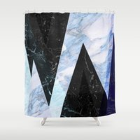 frozen Shower Curtains featuring Marble stone ( frozen ) by Marta Olga Klara