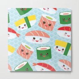 pattern Kawaii funny sushi rolls set with pink cheeks and big eyes, emoji Metal Print