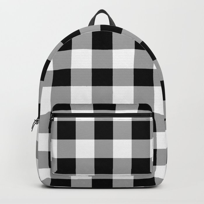 Black and White Check Backpack
