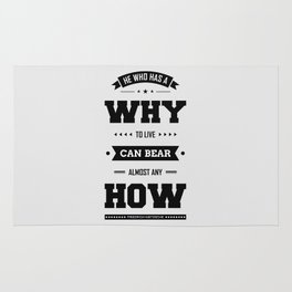Lab No. 4 He Who Has A Why Friedrich Nietzsche Inspirational Quote Rug