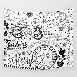 Black and White Christmas Typography Design Wall Tapestry