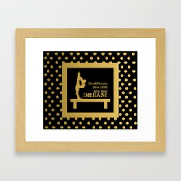 Gymnastics-Gold and Black Live your Dream Design Framed Art Print