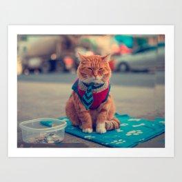 Tie Beige Cat Sitting Begging Art Print