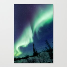 Northern Lights and shooting stars Canvas Print