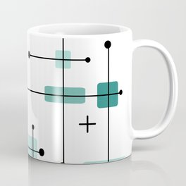 Rounded Rectangles Squares Teal 2 Coffee Mug