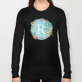Personalized Monogram Initial Letter R Blue Watercolor Flower Wreath Artwork Long Sleeve T-shirt