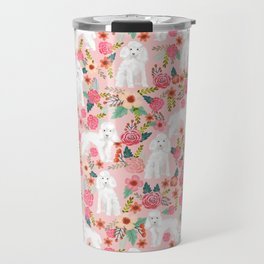Toy Poodle pattern print by pet friendly pink florals dog with flower pattern cute toy poodles Travel Mug