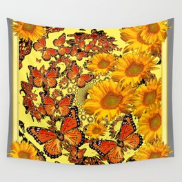 Butterfly & Sunflower Yellow Nature Patterns Wall Tapestry