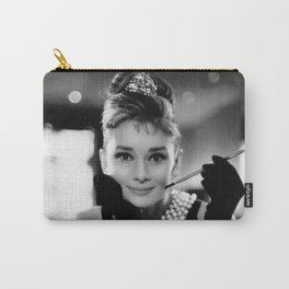 Audrey Hepburn, Tiara, Jewelry, Black and White Wall Art Carry-All Pouch