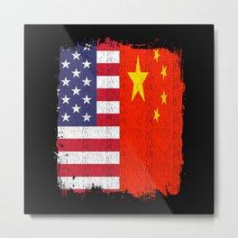 USA China America Flag Metal Print