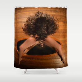 6171-KD Nude Art Model Sitting On Mirror Looking Down Shower Curtain