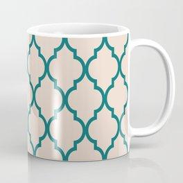 Classic Quatrefoil Lattice Pattern 323 Jade and Beige Coffee Mug