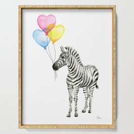 Zebra Watercolor With Heart Shaped Balloons Serving Tray