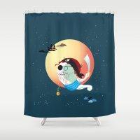 tatoo Shower Curtains featuring Captain Vermelho by feigenherz BAM