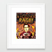 nicolas cage Framed Art Prints featuring Nicolas Rage by Butt Ugly Co