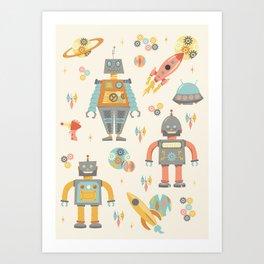 Vintage Inspired Robots in Space Kunstdrucke