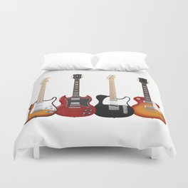 Four Electric Guitars Duvet Cover