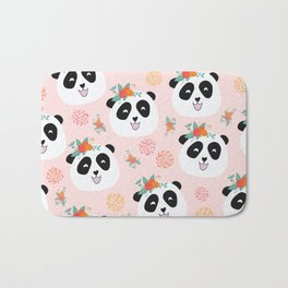 Panda bear with flowers seamless pattern Bath Mat