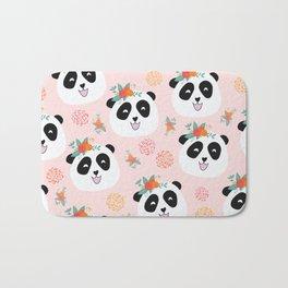 Panda bear with flowers seamless pattern Bath Mat