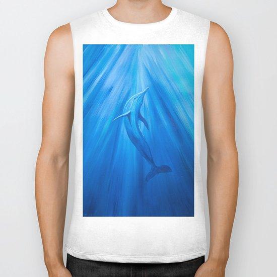 Dolphin in blue Biker Tank