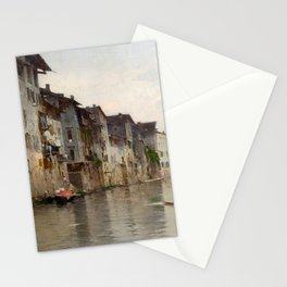 Bartolomeo Bezzi - L'acqua morta - Italian Vintage Retro Fine Art Oil Painting Stationery Cards