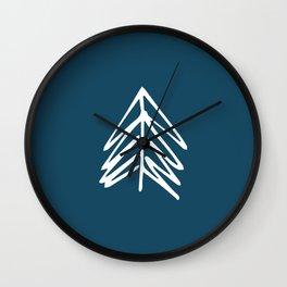 Pacific Northwest Evergreen   In Indigo Wall Clock