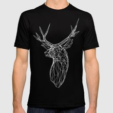 3D Stag Trophey Head Wire Frame Black Mens Fitted Tee MEDIUM
