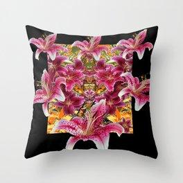 ORIENTAL STAR GAZER  LILIES FLORAL MODERN BLACK ART Throw Pillow