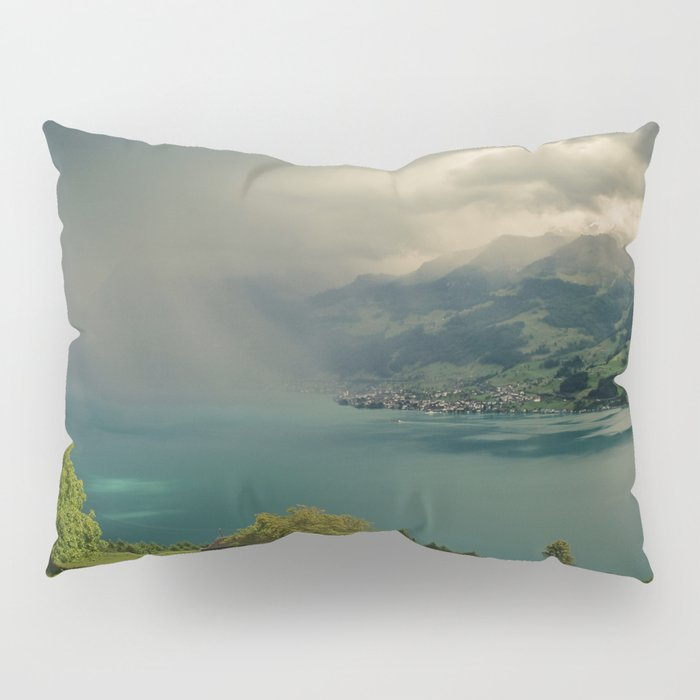 arising storm over lake lucerne Pillow Sham