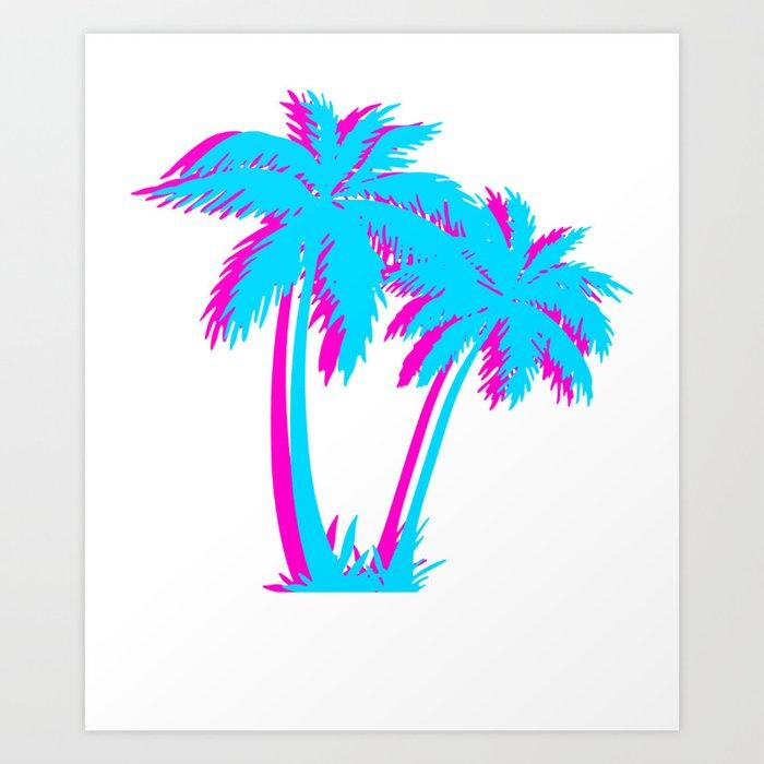 Beach Vaporwave Palm Tree Gift Aesthetic Tropical Palm Blue Pink Art Print By Dc Designstudio Society6