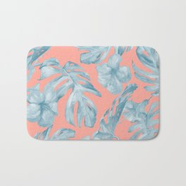 Island Life Pale Teal Blue on Coral Pink Bath Mat