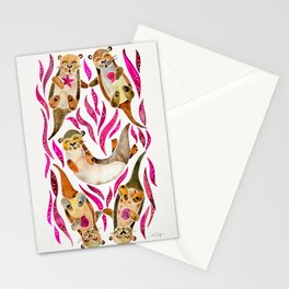 Otters – Pink Accents Stationery Cards