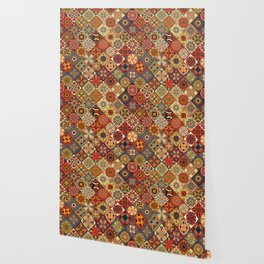 Vintage patchwork with floral mandala elements Wallpaper