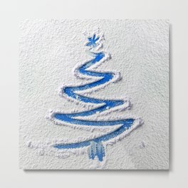 Simple Christmas Tree Hand Drawn in Snow on Blue Festive Minimal Art Metal Print