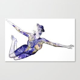 """""""Keep Yourself"""" Earth Inspired Floating Earth Girl Climate Change Canvas Print"""