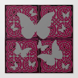 Grey Mystic Butterflies Burgundy Purple Celtic Art Canvas Print