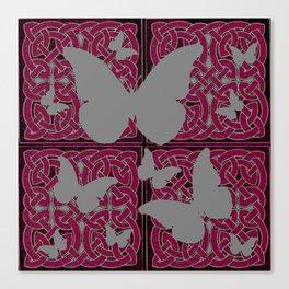 Grey Mystic Butterflies Burgundy Purple Celtic Art Canvas Print
