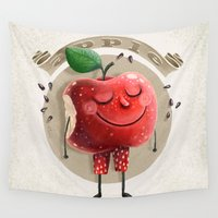 apple Wall Tapestries featuring Apple by Lime