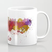 oslo Mugs featuring Oslo skyline in watercolor by Paulrommer