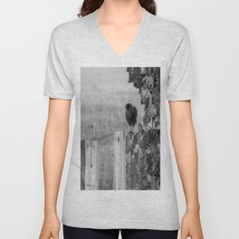 Walk the Line B&W Unisex V-Neck