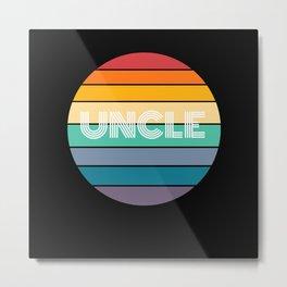 Rainbow UNCLE Shirt, Retro UNCLE, UNCLE Sunset, Metal Print
