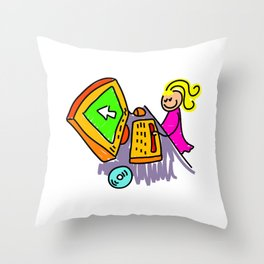 Computer Girl Throw Pillow
