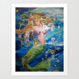 Mermaid Buttercup Art Print