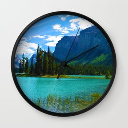 Maligne Lake in Jasper National Park, Canada Wall Clock