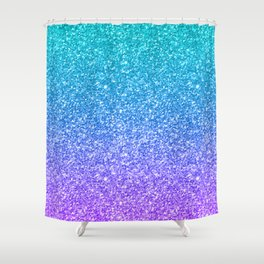 Purple and Emerald Green Gradient Glitter Print Shower Curtain