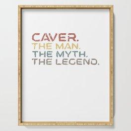 Retro Vintage Caver Man Myth Legend Design for a Spelunker Serving Tray