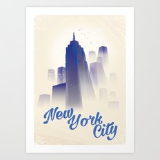 Skyscrapers of New York City vintage travel poster Art Print