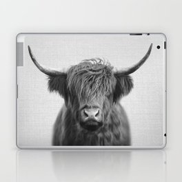 Highland Cow - Black & White Laptop & iPad Skin