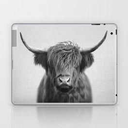 Highland Cow - Black & White Laptop & iPad Skin